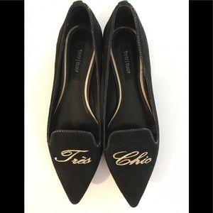 WHBM Tre's Chic Black Velvet Shoes 8.5 Pointy Toe